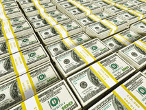Background of rows of dollar bundles Stock Image