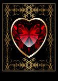 Background with ruby red heart Stock Images