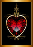 Background with ruby red heart Stock Image