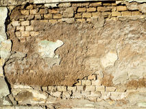 Background ruined old brick wall. Close up Stock Photos