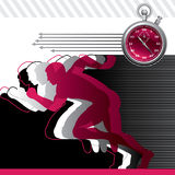 Background with runners and stop watch vector illustration