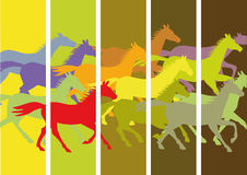 Background with running horses. Original background with cut colorful silhouettes of running horses Stock Images