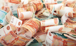 Background of Russian banknotes Stock Photos