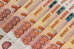 Background of Russian banknotes Stock Photo