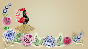 Background with russian folk patterns,  raster image for the design of textiles, the printing industry and other, cock Stock Photography
