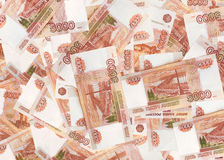 Background of russian money. Background of five thousandth bills stock image