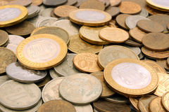 Background of Russian rubles coins Stock Image