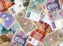 Background. Russian rubles and Czech koruns Stock Photography