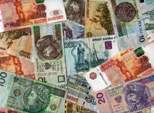 Background. Russian rubles and Polish zloty Stock Photo