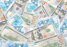 Background of Russian rubles and U.S. dollars Royalty Free Stock Photo
