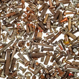Background of rusty bolts Royalty Free Stock Photo