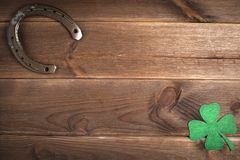 Patricks day holiday symbol. Space for text. stock images