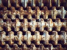 Background of rusty old Soviet batteries royalty free stock images