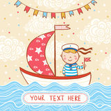 Nice marine background in vector in cartoon style. Royalty Free Stock Photography