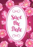 Background with sakura or cherry blossom. Save the date. Floral japanese ornament of blooming flowers Royalty Free Stock Images