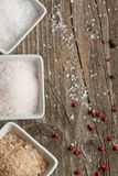 Background with salt and pepper Stock Photos