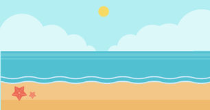 Background of sand beach with blue sea. Background of sand beach with blue sea vector flat design illustration. Horizontal layout Royalty Free Stock Images