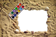 Background of sand and paint text, place, top view Royalty Free Stock Image