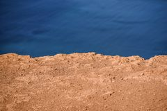 A background of sand and water, a puffy and brick color, a holid. Ay on Lanzarote Stock Photos