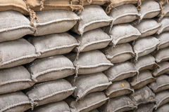 Background of sandbags for flood defense Stock Image