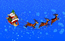 Background with Santa Claus flying Stock Images