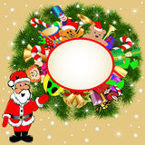 Background with Santa Claus and gifts Stock Photography