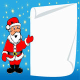 Background with Santa Claus and paper for messages Stock Image