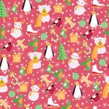 Background with Santa Claus,snowman, bear, penguin Stock Illustration