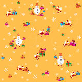 Background with Santa Clause, snowmen and presents Royalty Free Stock Photo
