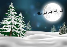Background with Santa's sleigh Stock Images