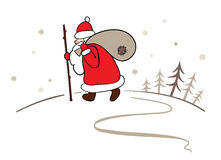 Background - Santa with a sack of gifts Stock Images