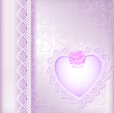 Background with a satin bow and a heart Royalty Free Stock Photos