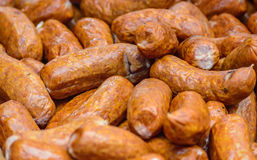 Background with sausage grill. Sausage grill background with shallow depth of field Stock Images