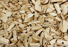 Background from sawdust wood shavings. And scraps of pine Stock Photo