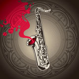 Background with saxophone. Stock Photo