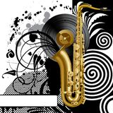 Background with a saxophone. Raster version of vector black background with a saxophone There is in addition a vector format (EPS 8 royalty free illustration