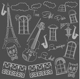 Background with saxophone on  chalkboard Stock Photography