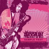 Background with saxophonist. Vector illustration with saxophonist in grunge style. CD cover Stock Images