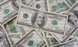Background with scaned money american hundred dollars Stock Photography