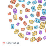 Background of scattered colored doodle macaroon for design Royalty Free Stock Photos