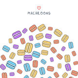 Background of scattered colored doodle macaroon for design Royalty Free Stock Images