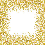 Background with scattered gold confetti frame. On white Royalty Free Stock Photo