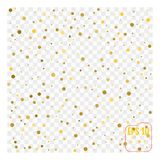 Background with scattered gold confetti isolated on transparent stock illustration