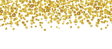 Background with scattered gold confetti royalty free stock image