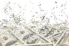 Background from a scattering particles. With the image of dollars Stock Photography