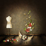 Background with scene. Clock, butterflies, room Royalty Free Stock Image