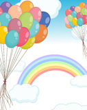 Background scene with balloons in the sky. Illustration Royalty Free Stock Photo