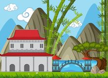 Background scene with buildings in chinese style in the field. Illustration Royalty Free Stock Images