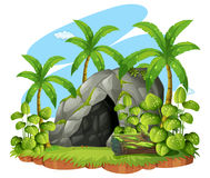 Background scene with cave in forest. Illustration vector illustration