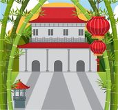 Background scene with chinese building and bamboo. Illustration Royalty Free Stock Photos
